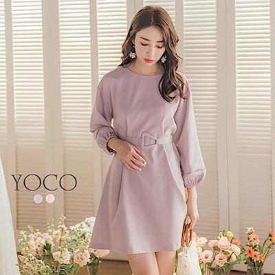 東京著衣-YOCO 氣質滿分附造型腰帶縮口洋裝-S.M.L-(共二色)