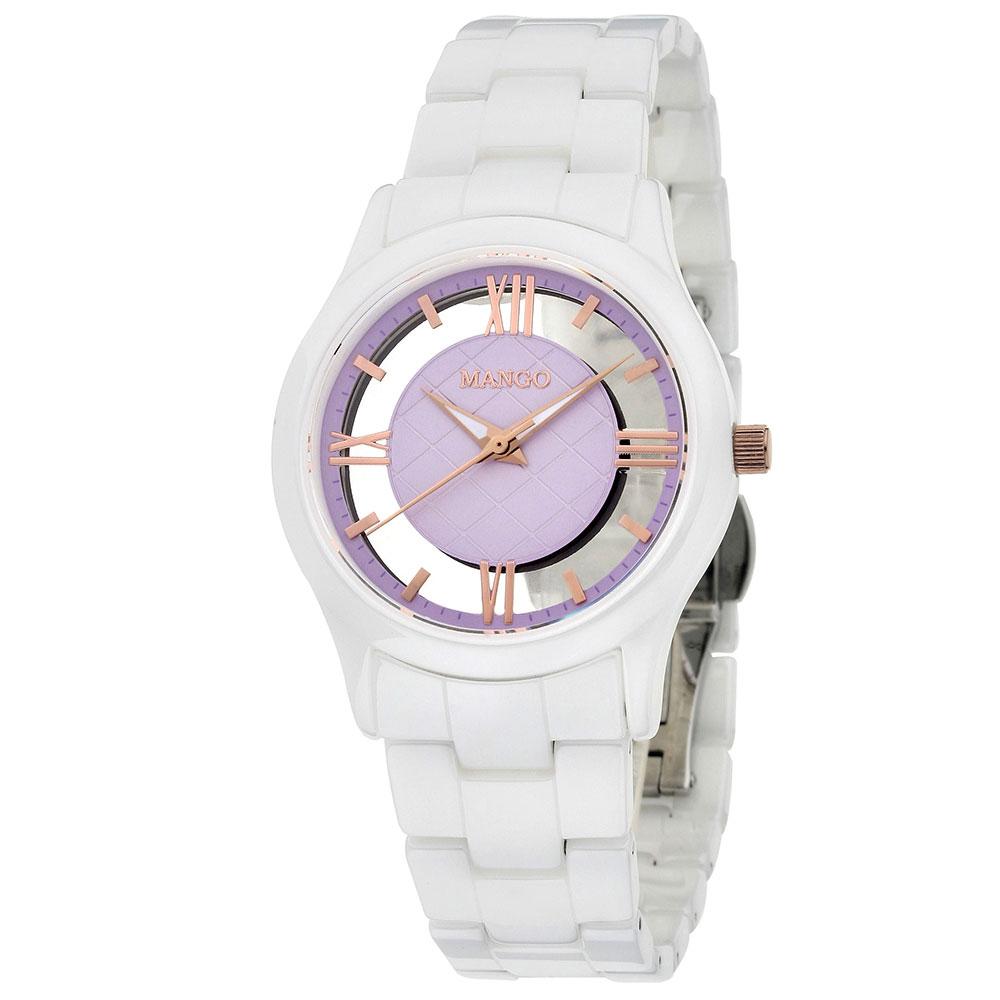 MANGO 自信女王陶瓷腕錶-白*淡紫/34mm
