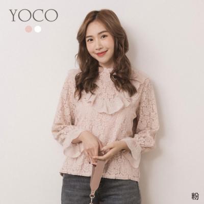 東京著衣-YOCO 浪漫雅緻蕾絲鏤空雕花荷葉袖上衣(共二色)