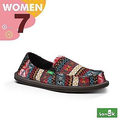 SANUK 女款US7 民俗圖騰編織懶人鞋(紅藍色)