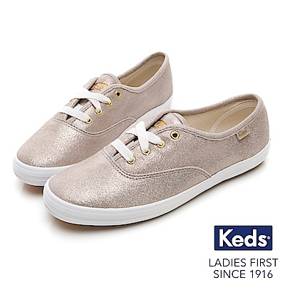 Keds CHAMPION 麂皮柔光經典綁帶休閒鞋-香檳金