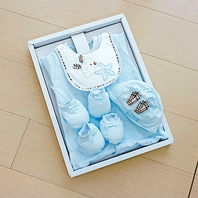 GMP BABY台灣製條紋星兔兩用兔裝 藍 彌月禮盒1組