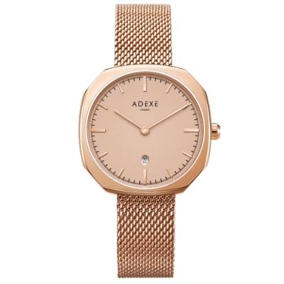 ADEXE 英國手錶 SQUARE日期顯示系列 玫瑰金色米蘭錶帶方形錶框30mm