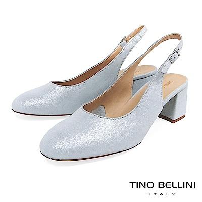 Tino Bellini 義大利進口細緻微光後拉帶中跟鞋 _ 銀