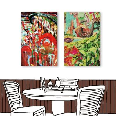 24mama掛畫-二聯式 藝術抽象 油畫風無框畫 40X60cm-公園的音樂會