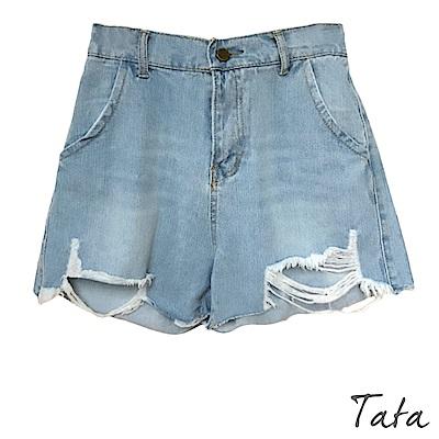 高腰刷破貓鬚牛仔短褲 TATA