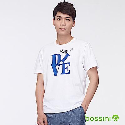 bossini男裝-印花短袖T恤32白