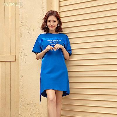 H:CONNECT 韓國品牌 女裝-造型織帶休閒洋裝-藍