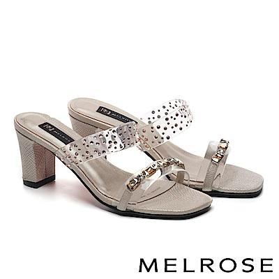 拖鞋 MELROSE 復古奢華晶鑽透明膠片粗高跟拖鞋-金