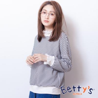 betty's貝蒂思 羅紋拼接蕾絲格紋上衣(黑色)