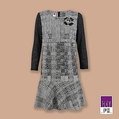 ILEY伊蕾 織蔥袖拼接千鳥紋洋裝(黑)