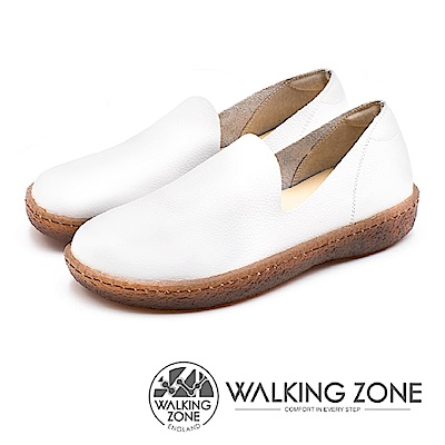 WALKING ZONE (女)柔軟真皮直套懶人鞋-白(另有黑)