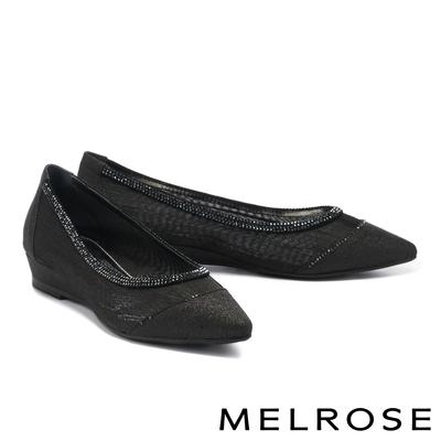 低跟鞋 MELROSE 迷人時尚晶鑽透膚網紗尖頭楔型低跟鞋-黑