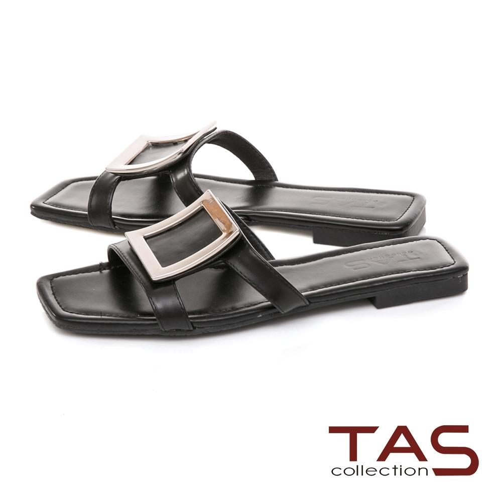 TAS 復古大方飾釦鏤空涼拖鞋-經典黑