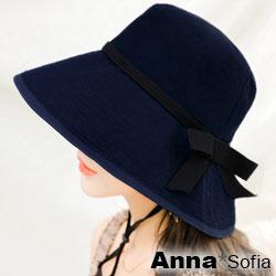【滿額再75折】AnnaSofia 黑帶滾邊側平結 寬簷防曬遮陽漁夫盆帽(深藍系)