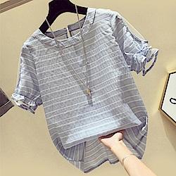 初色  條紋露肩造型上衣-共3色-(M-2XL可選)