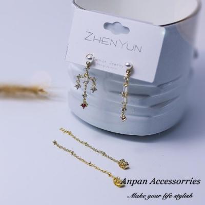 【Anpan 愛扮】 韓東大門巴洛克風水鑽粉色十字架前後扣一款二戴925銀針耳釘式耳環