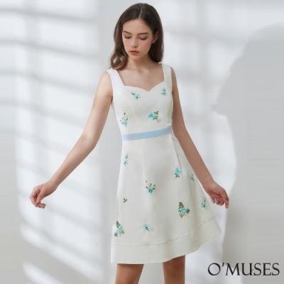 OMUSES 簡約刺繡花A-Line短洋裝