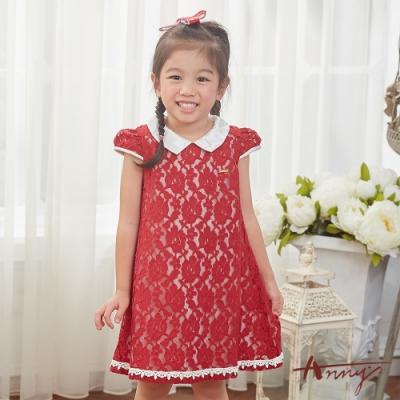Annys安妮公主-喜氣洋洋小紅花-花朵蕾絲公主半袖修身A字洋裝*8154紅