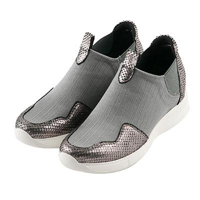 BESO 酷感休閒 異材質拼接彈力布休閒鞋~灰