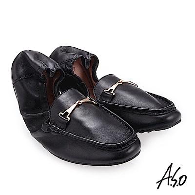 A.S.O輕履鞋 小羊皮簡約飾釦可折疊穆勒鞋 黑