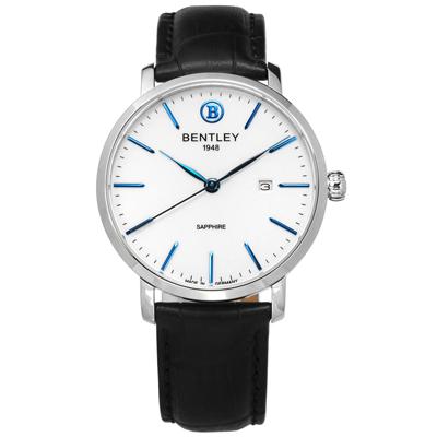 BENTLEY 賓利 典藏風範 德國製造 藍寶石水晶玻璃 壓紋真皮手錶-白x黑/40mm