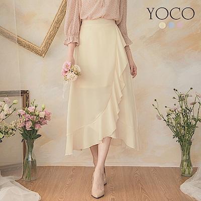 東京著衣-YOCO 法式浪漫交錯魚尾後鬆緊中長裙-S.M.L(共三色)