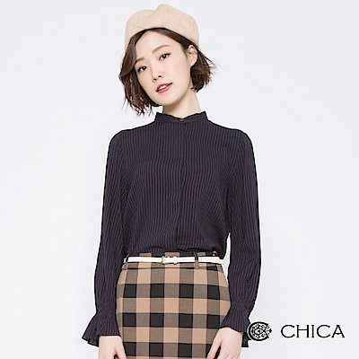 CHICA 潮流英倫直條紋小立領襯衫(2色)