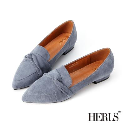 HERLS樂福鞋-內真皮扭結麂皮絨尖頭低跟鞋樂福鞋-藍色