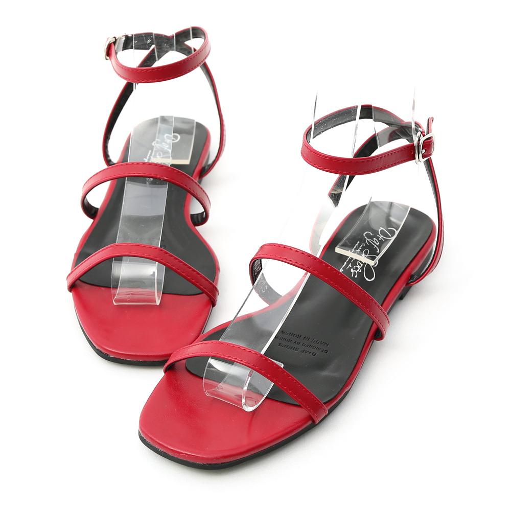 D+AF 時尚聚焦.雙帶繫踝方頭平底涼鞋*紅
