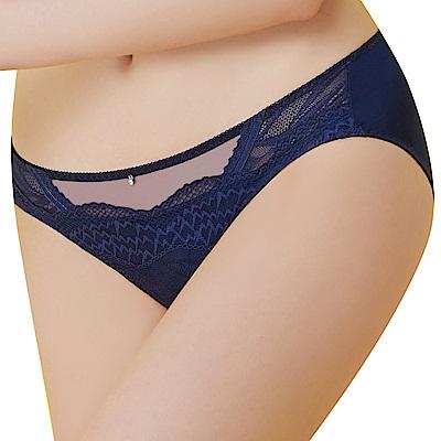 思薇爾 啵時尚系列M-XXL蕾絲中低腰三角內褲(海藍色)