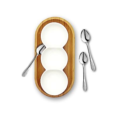 英國 WILMAX 竹製長圓形餐盤/輕食盤附圓型三格盤+茶匙