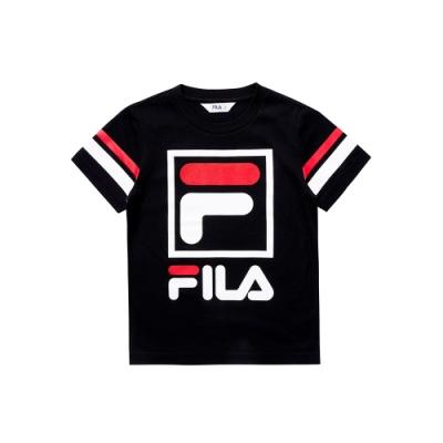 FILA KIDS 童短袖圓領上衣-黑 1TEU-4501-BK