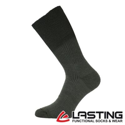 【LASTING捷克】男款美麗諾羊毛抗菌除臭吸濕排汗中筒健行襪LT-WRM墨綠