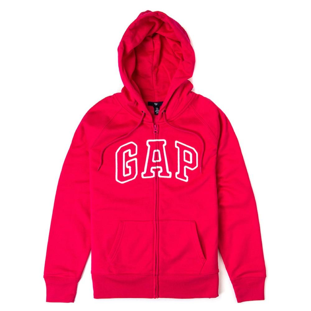 GAP 經典LOGO連帽外套(女)-桃紅色