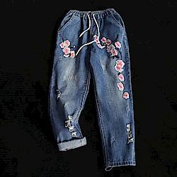 寬鬆刺繡哈倫牛仔褲顯瘦百搭七分褲-設計所在