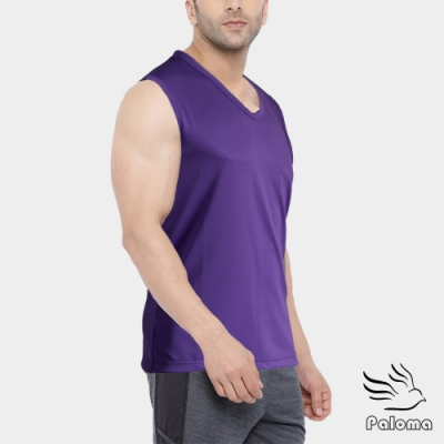 Paloma台灣製極涼感網眼排汗寬肩背心-紫色 背心