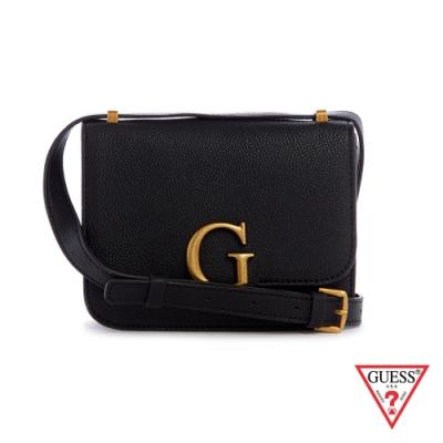 GUESS-女包-時尚荔枝紋金屬LOGO肩背方包-黑 原價2490