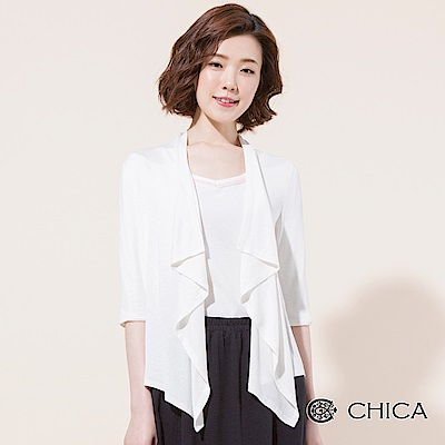 CHICA 簡約垂墜感五分袖薄開襟罩衫(2色)