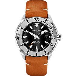 GIORGIO FEDON 1919 海洋系列200米機械錶-黑x棕皮帶/47mm