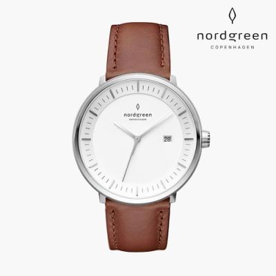Nordgreen Philosopher 哲學家 月光銀系列 復古棕真皮錶帶手錶 40mm