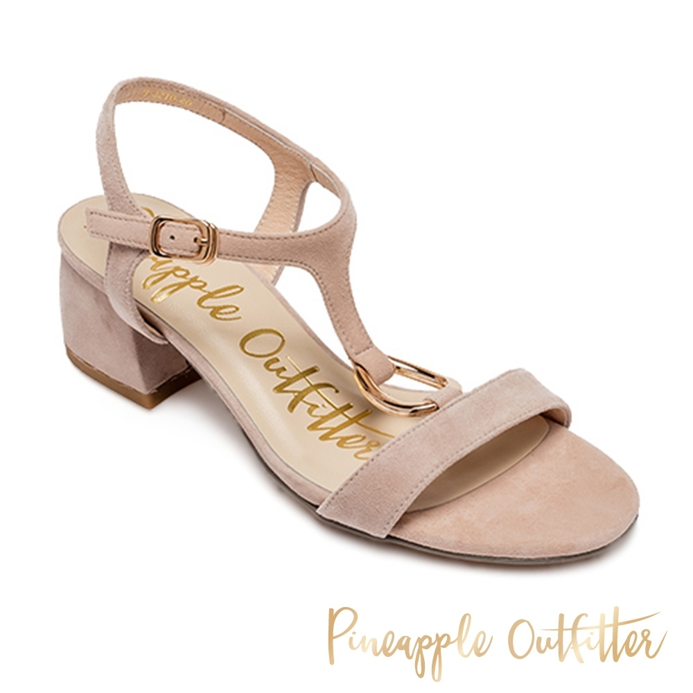 Pineapple Outfitter-SATRIA 氣質款金扣T字帶粗跟涼鞋-絨粉色