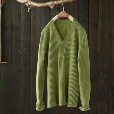 輕巧溫柔單色V領修身內搭針織上衣薄版長袖毛衣-設計所在