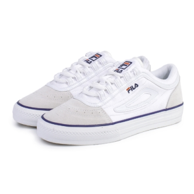 【FILA】CLASSIC BOARDER 休閒鞋 男女款 情侶鞋-米/藍(4-C331U-113)