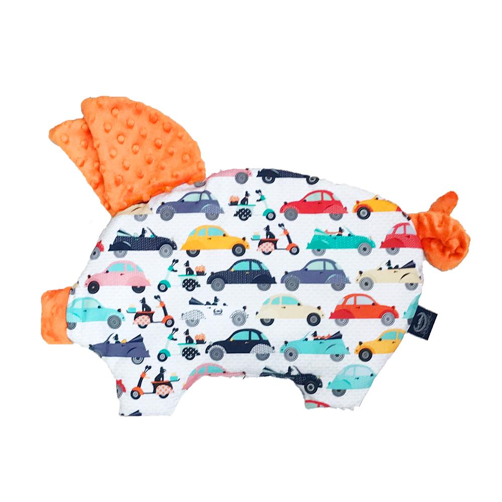 La Millou 豆豆小豬枕嬰兒枕-法鬥噗噗車(葡萄柚橙橘)
