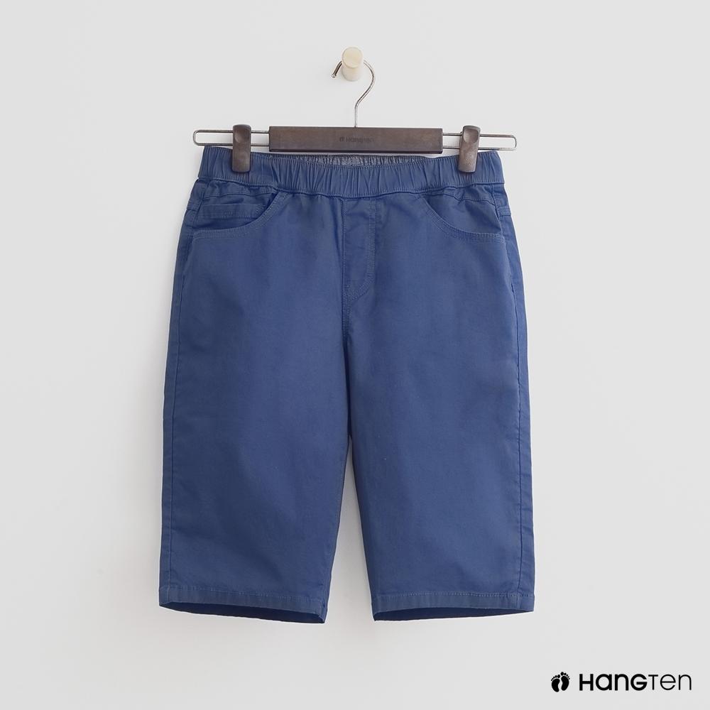 Hang Ten-童裝純色休閒短褲-藍