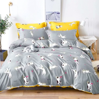 3-HO 雪紡棉 單人床包/枕套 二件組 貓咪樂