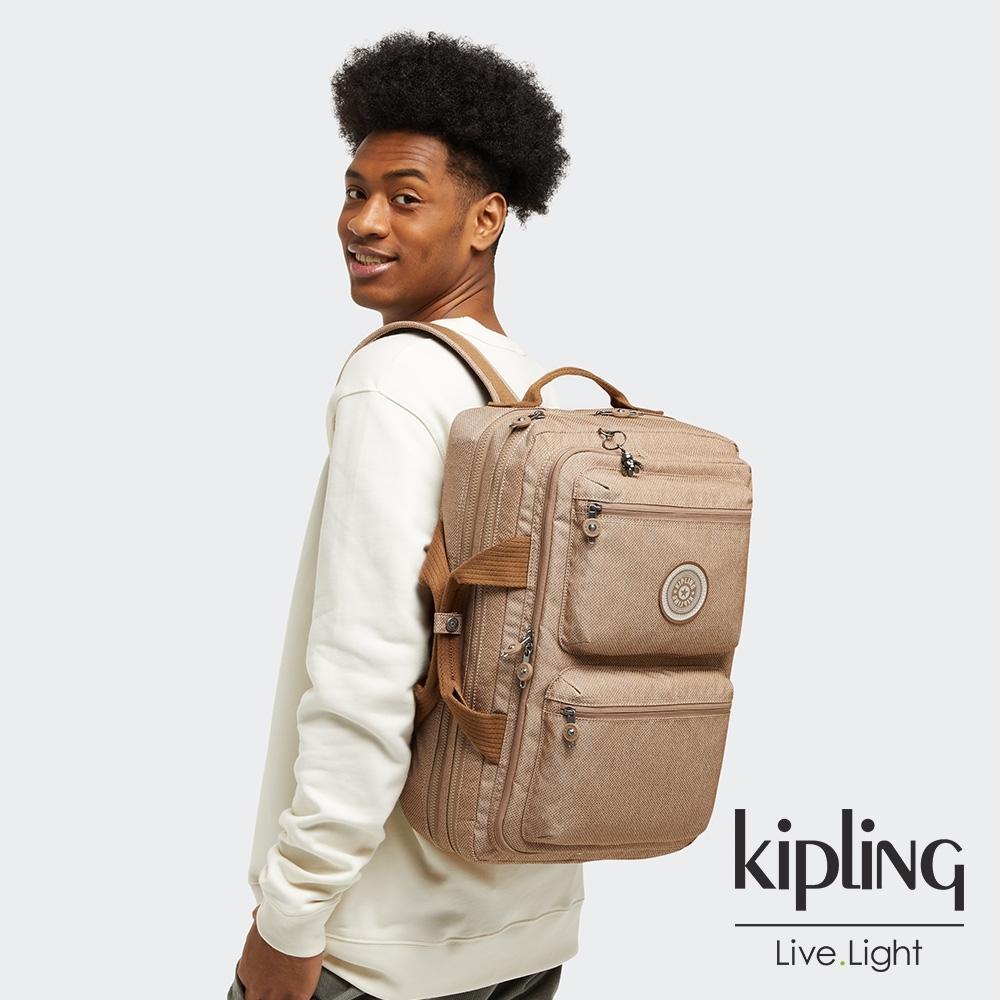 Kipling 烏龍拿鐵色多層收納行李後背包-JENGO