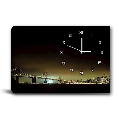 24mama掛畫-單聯式橫幅 掛鐘無框畫-夜景-60x40cm