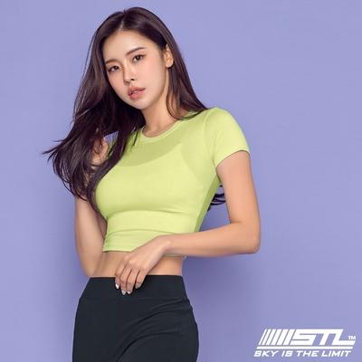 STL yoga 韓國瑜珈 ESSENCE Line Up 本質短版合身(有肩線)運動機能短袖圓領上衣 萊姆黃SoftLime